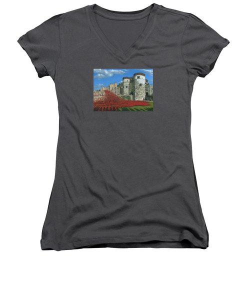 Tower Of London Poppies - Blood Swept Lands And Seas Of Red  Women's V-Neck T-Shirt (Junior Cut) by Richard Harpum