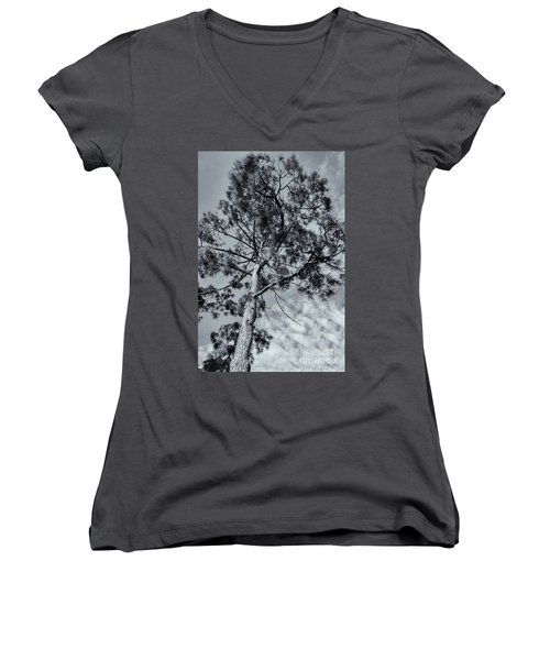 Women's V-Neck T-Shirt (Junior Cut) featuring the photograph Towering by Linda Lees