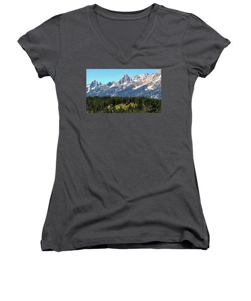 Towering Teton Range  Women's V-Neck T-Shirt
