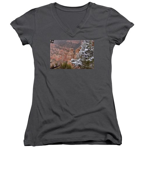 Towers In The Snow Women's V-Neck T-Shirt (Junior Cut) by Debby Pueschel