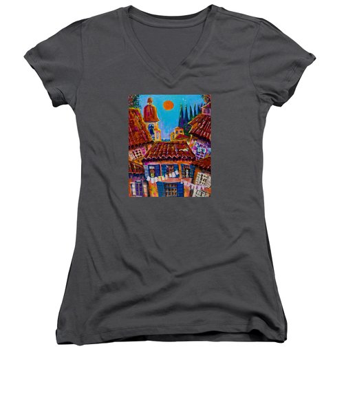 Town By The Sea Women's V-Neck T-Shirt (Junior Cut) by Maxim Komissarchik