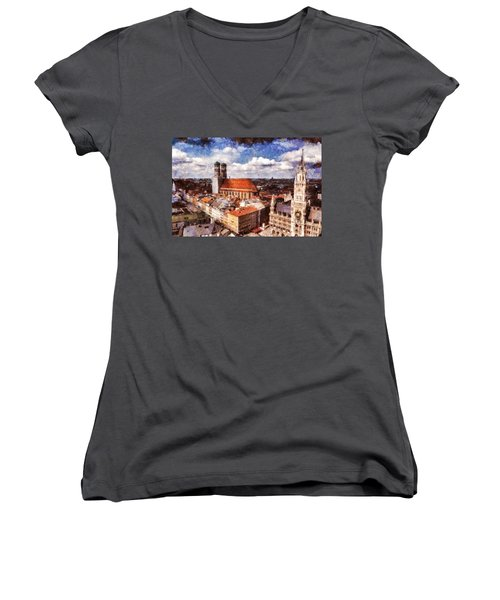Town Hall. Munich Women's V-Neck T-Shirt (Junior Cut) by Sergey Simanovsky