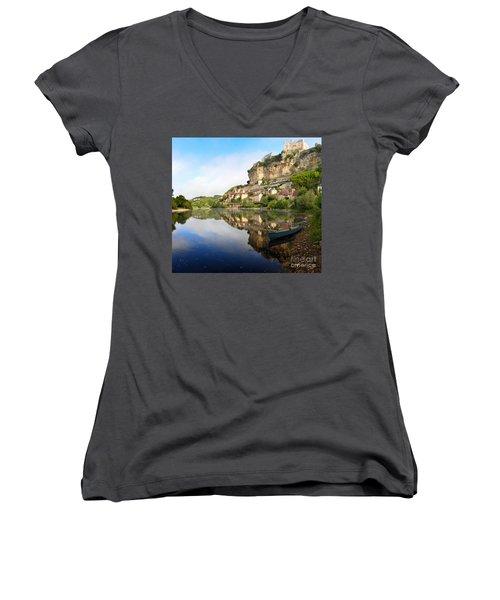 Town Of Beynac-et-cazenac Alongside Dordogne River Women's V-Neck T-Shirt