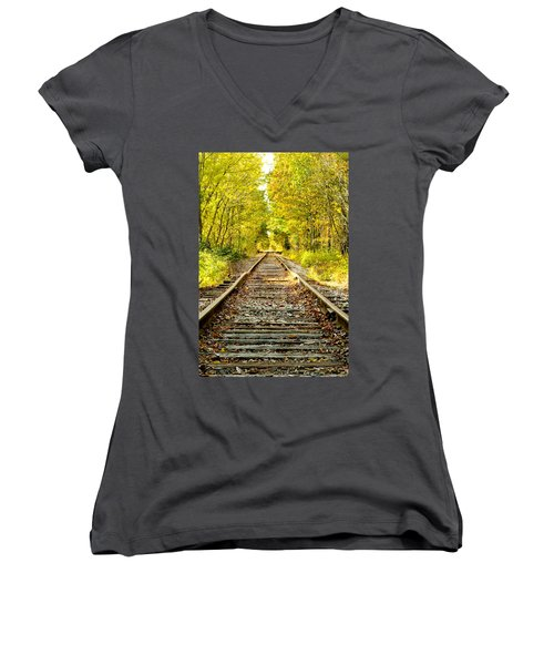 Track To Nowhere Women's V-Neck T-Shirt (Junior Cut) by Greg Fortier