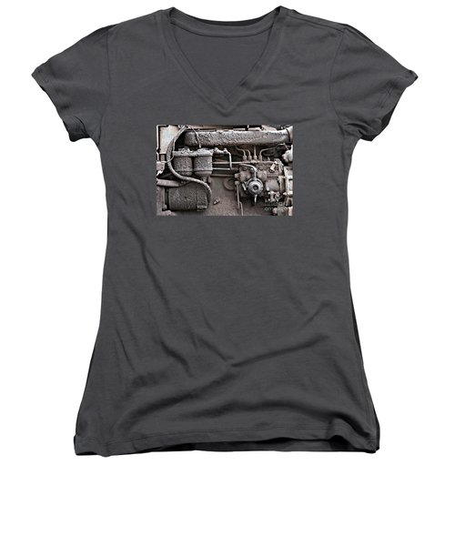 Women's V-Neck T-Shirt featuring the photograph Tractor Engine II by Stephen Mitchell