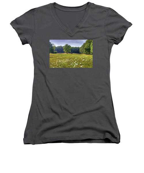 Tractor In Field With Flowers Women's V-Neck