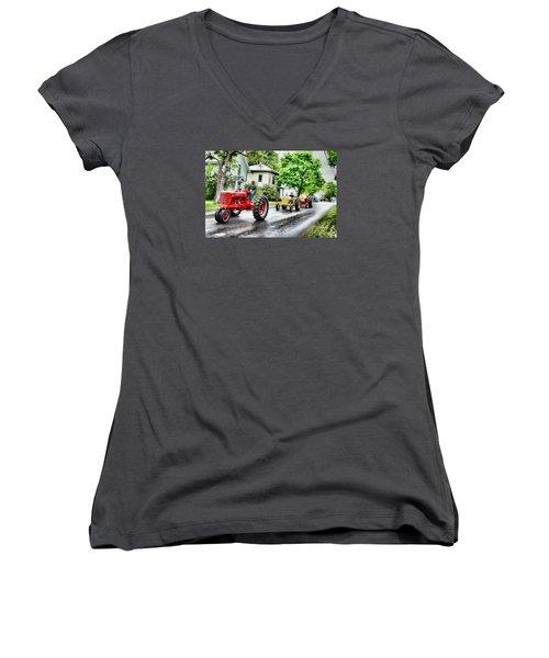 Tractors On Parade Women's V-Neck T-Shirt (Junior Cut) by Rena Trepanier