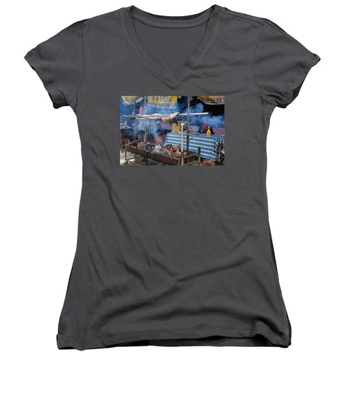 Women's V-Neck T-Shirt (Junior Cut) featuring the photograph Traditional Market In Taiwan Native Village by Yali Shi