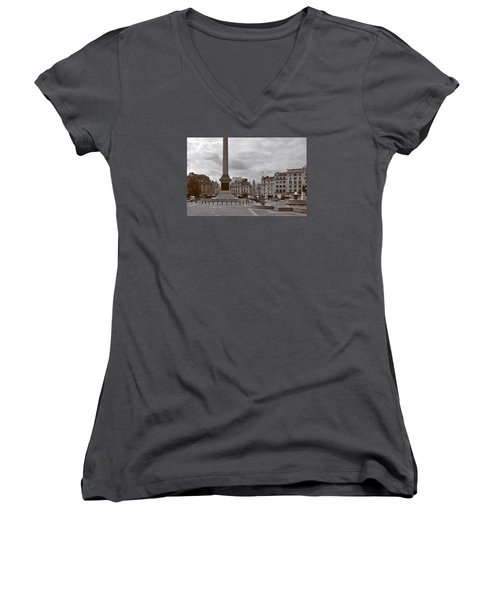 Women's V-Neck T-Shirt (Junior Cut) featuring the photograph Trafalgar Square Sunday Morning by Nop Briex