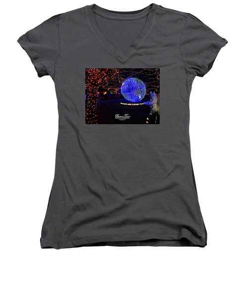 Trail Of Lights World #7359 Women's V-Neck T-Shirt (Junior Cut) by Barbara Tristan