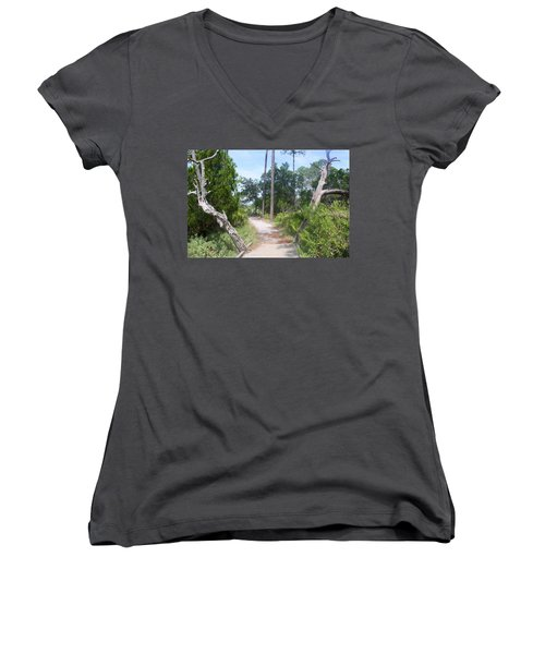 Trail On Hunting Island Women's V-Neck T-Shirt