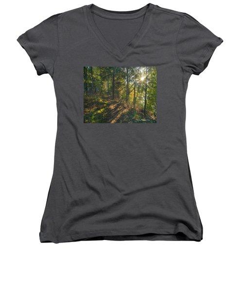 Trail Women's V-Neck T-Shirt (Junior Cut) by Tim Fitzharris