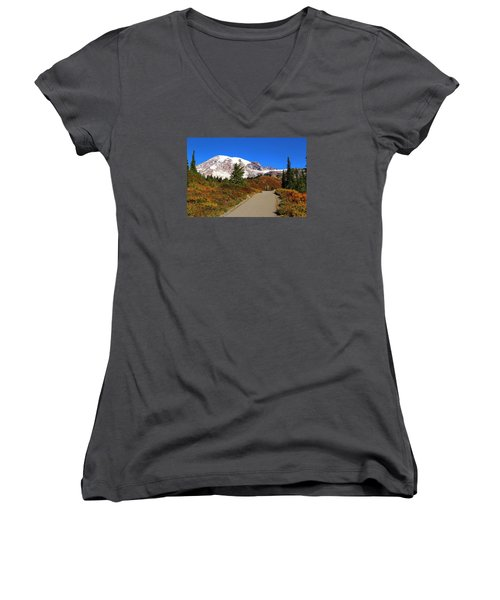 Women's V-Neck T-Shirt (Junior Cut) featuring the photograph Trail To Myrtle Falls by Lynn Hopwood