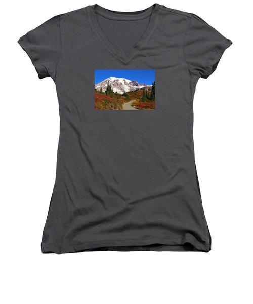 Women's V-Neck T-Shirt (Junior Cut) featuring the photograph Trail To Myrtle Falls 2 by Lynn Hopwood