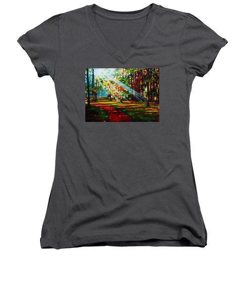 Trails Of Light Women's V-Neck T-Shirt (Junior Cut) by Emery Franklin