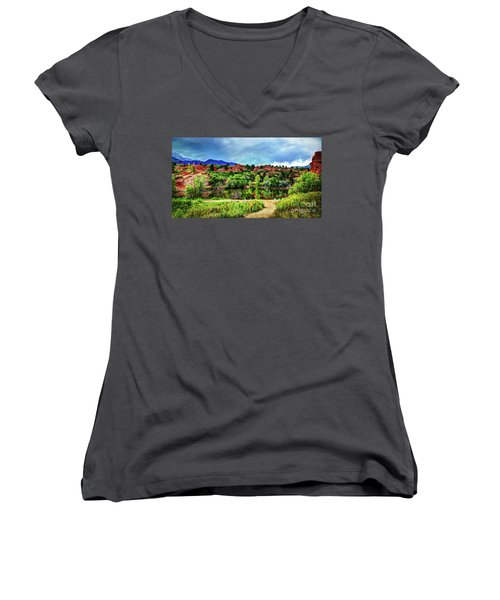 Women's V-Neck T-Shirt (Junior Cut) featuring the photograph Trails Of Red Rock Canyon by Deborah Klubertanz