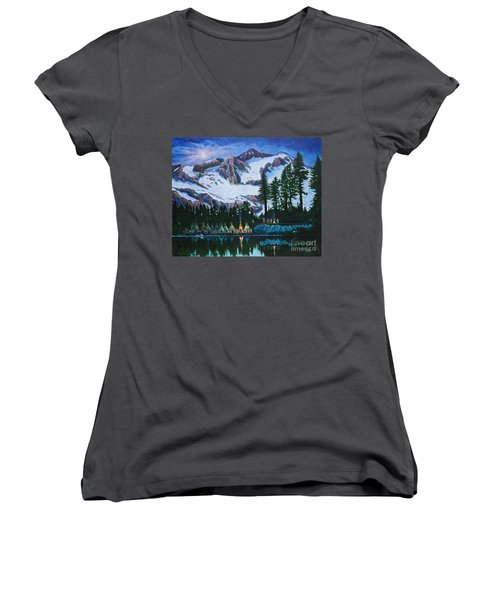 Women's V-Neck T-Shirt (Junior Cut) featuring the painting Trails West II by Michael Frank