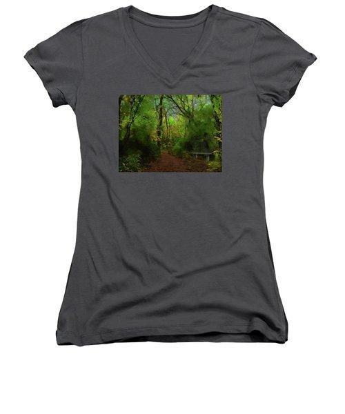 Trailside Bench Women's V-Neck T-Shirt (Junior Cut) by Cedric Hampton