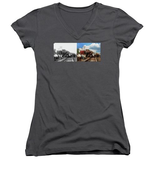 Women's V-Neck T-Shirt (Junior Cut) featuring the photograph Train - Accident - Butting Heads 1922 - Side By Side by Mike Savad