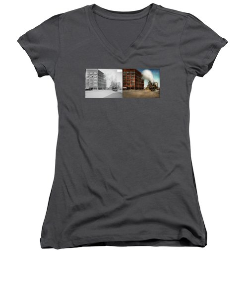 Women's V-Neck T-Shirt (Junior Cut) featuring the photograph Train - Respect The Train 1905 - Side By Side by Mike Savad