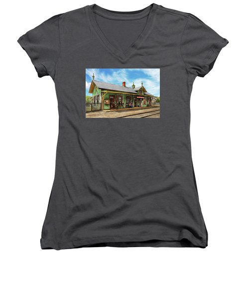 Women's V-Neck T-Shirt (Junior Cut) featuring the photograph Train Station - Garrison Train Station 1880 by Mike Savad