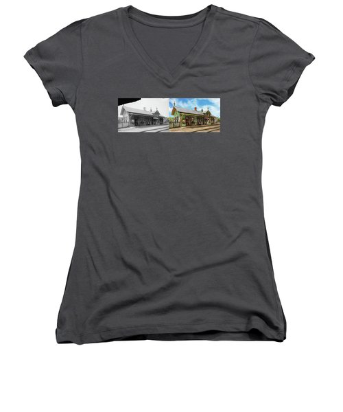 Women's V-Neck T-Shirt (Junior Cut) featuring the photograph Train Station - Garrison Train Station 1880 - Side By Side by Mike Savad