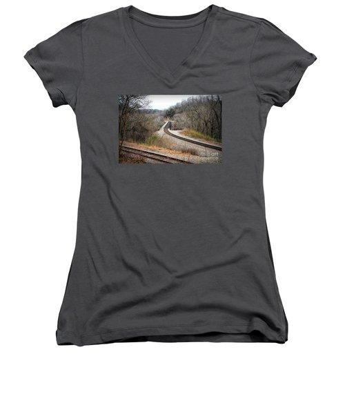 Train Tracks Across The New River - Radford Virginia Women's V-Neck