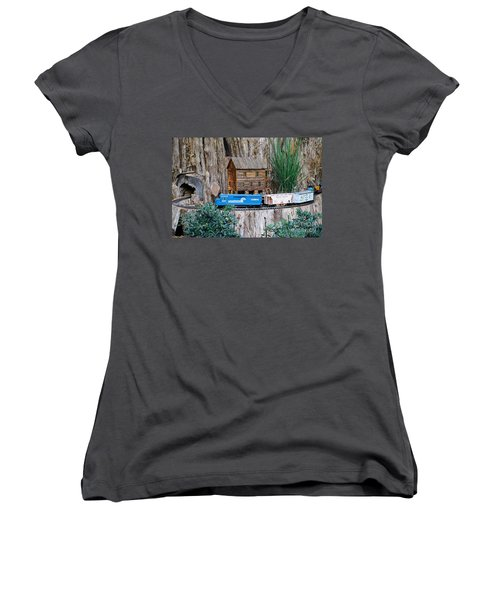 Women's V-Neck T-Shirt (Junior Cut) featuring the painting Train Train Take Me Out Of This Town by Robert Pearson