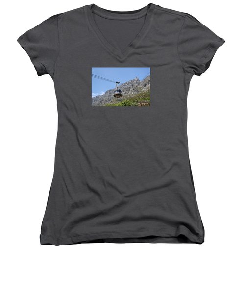 Women's V-Neck T-Shirt (Junior Cut) featuring the photograph Tramway To Cable Mountain by Bev Conover