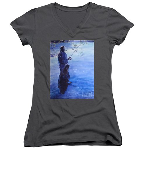 Watercolor Tranquil Fishing Women's V-Neck T-Shirt