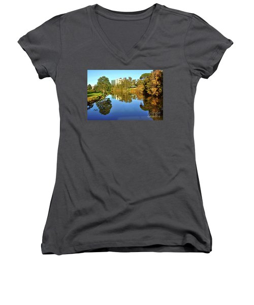 Women's V-Neck T-Shirt (Junior Cut) featuring the photograph Tranquil River By Kaye Menner by Kaye Menner