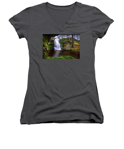 Tranquil Slow Soft Waterfall Women's V-Neck