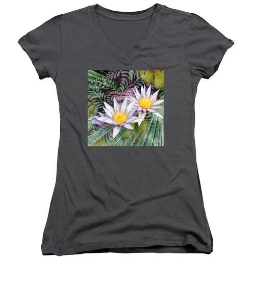 Tranquilessence Women's V-Neck T-Shirt (Junior Cut) by Christopher Beikmann