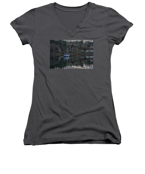 Women's V-Neck T-Shirt (Junior Cut) featuring the photograph Tranquility 9 by Timothy Latta