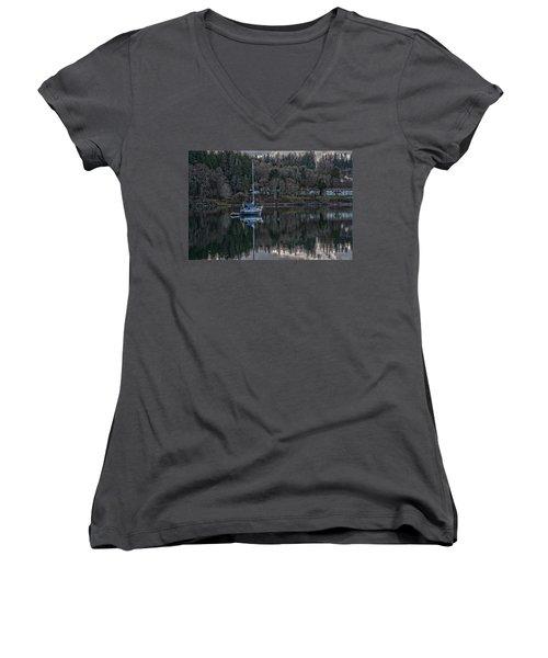Tranquility 9 Women's V-Neck T-Shirt (Junior Cut) by Timothy Latta