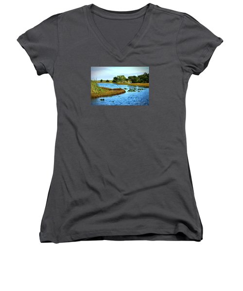 Tranquility... Women's V-Neck T-Shirt (Junior Cut) by Edgar Torres