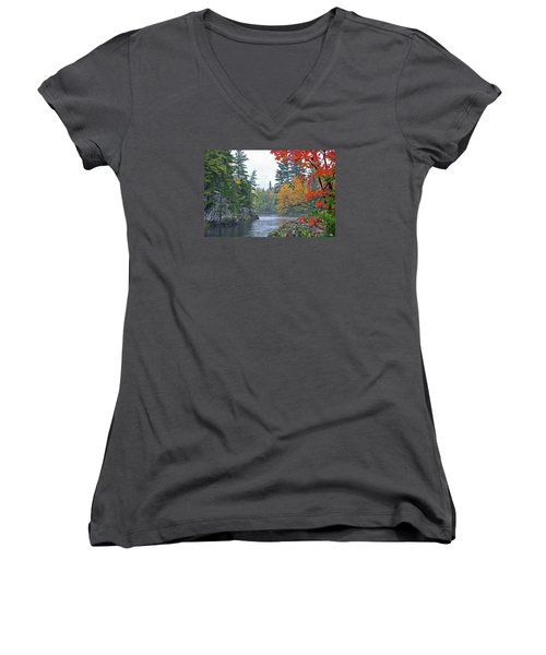 Women's V-Neck T-Shirt (Junior Cut) featuring the photograph Autumn Tranquility by Glenn Gordon