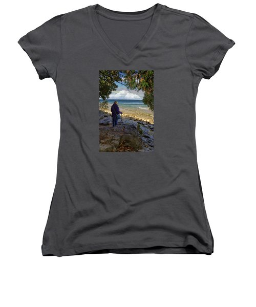 Women's V-Neck T-Shirt (Junior Cut) featuring the photograph Tranquility by Judy Johnson