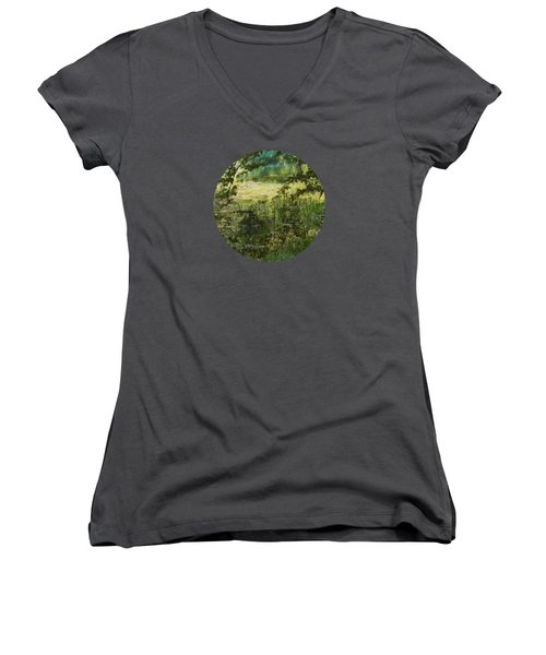 Tranquility Women's V-Neck T-Shirt (Junior Cut) by Mary Wolf