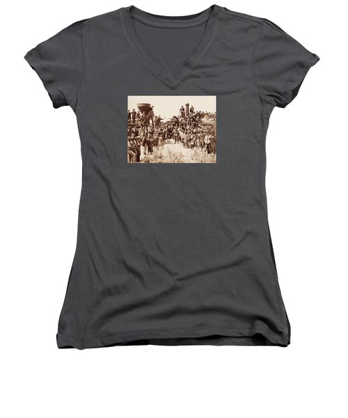 Transcontinental Railroad - Golden Spike Ceremony Women's V-Neck (Athletic Fit)