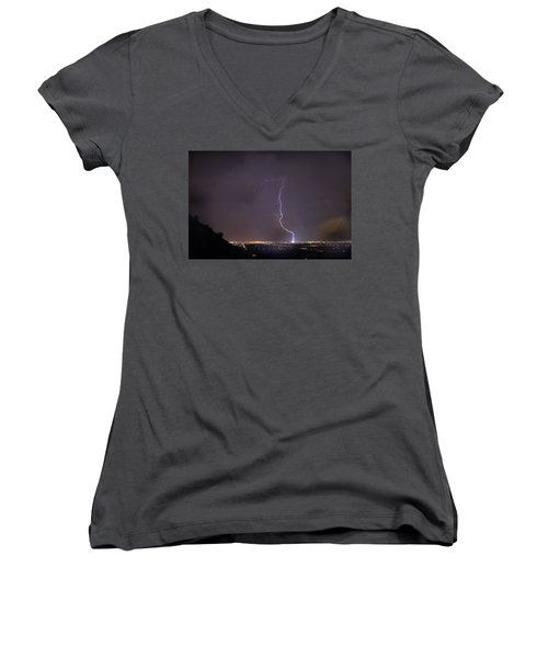 Women's V-Neck T-Shirt (Junior Cut) featuring the photograph It's A Hit Transformer Lightning Strike by James BO Insogna