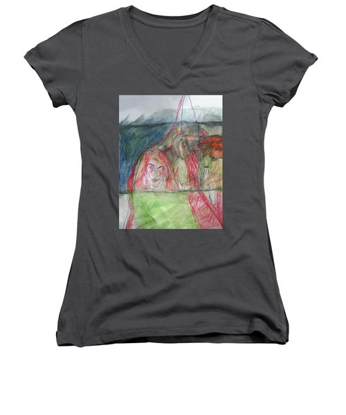 Travelers On The Train Women's V-Neck (Athletic Fit)