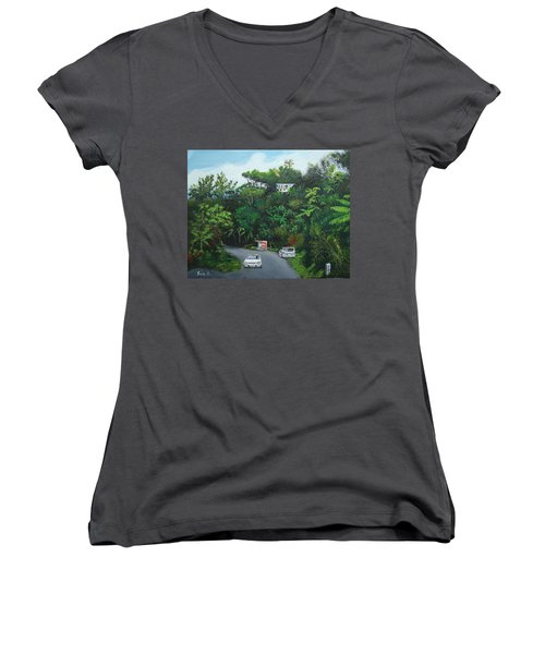 Traveling In Adjuntas Mountains Women's V-Neck (Athletic Fit)