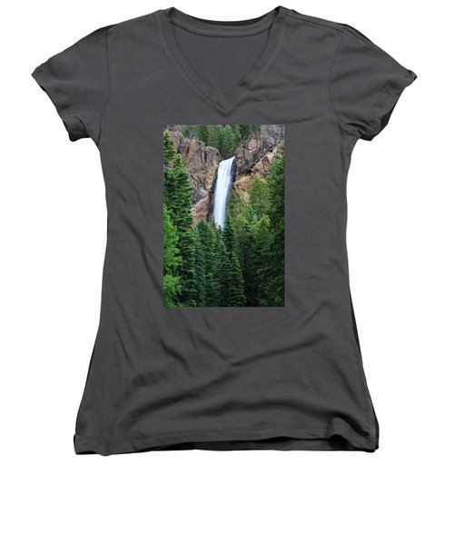 Women's V-Neck T-Shirt (Junior Cut) featuring the photograph Treasure Falls by David Chandler