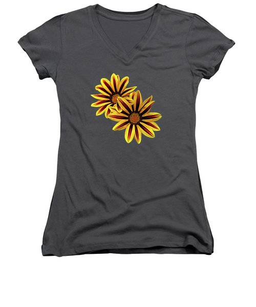 Treasure Flowers Painted Women's V-Neck (Athletic Fit)