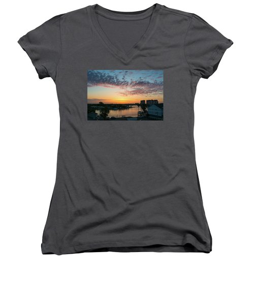 Treasure Island Sunrise Women's V-Neck T-Shirt (Junior Cut)