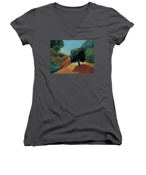 Women's V-Neck T-Shirt (Junior Cut) featuring the painting Tree Alone by Gary Coleman