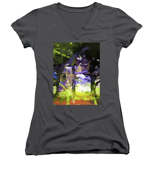 Tree Avenue Lavender Lilac Green Women's V-Neck (Athletic Fit)