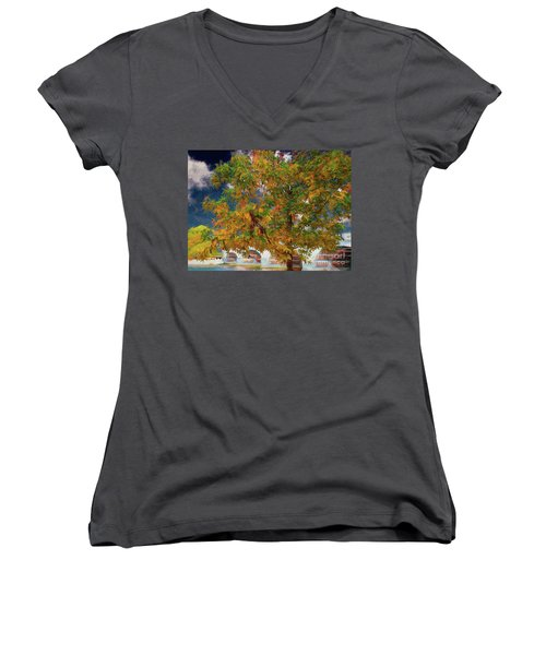 Tree By The Bridge Women's V-Neck