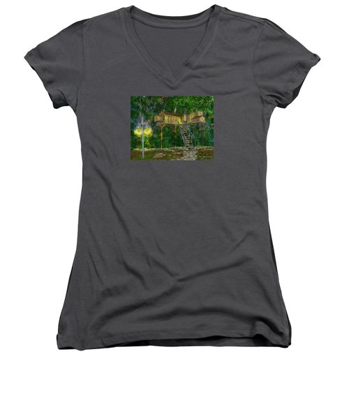 Tree House #10 Women's V-Neck T-Shirt (Junior Cut) by Jim Hubbard